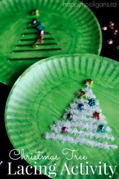 Christmas Tree Lacing Activity with Paper Plates