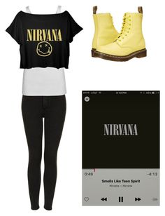 """""""Nirvana"""" by sup-its-alex-peace ❤ liked on Polyvore featuring Topshop, Juvia and Dr. Martens"""