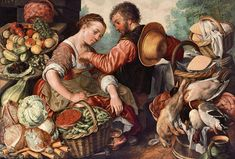 Woman Selling Vegetables - Joachim Beuckelaer, Royal Museum of Fine Arts, Antwerp. Good glimpse of the smock, stockings and woman's shoe. And if Webb sees this: yep, closed skirt on the overdress. Nice straw hat, too.