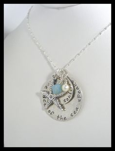 hand stamped sea quote necklace sterling silver by Sapphire9Jewelry