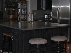 Cement counter top on kitchen Island. Great Design by BrandWave