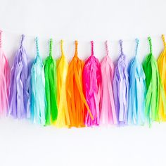 Tissue paper tassel garlands add so much personality to any occasion, and add a lovely pop of color to your party decor. Kit includes pre-cut sheets of premium