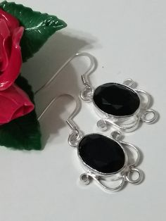 Genuine Black Onyx Faceted Sterling Silver Oval Drop Earrings, Faceted Black Onyx Drops, Onyx Earrings, Bezel Set Earrings, Birthday Earring by ReigningCrownBeads on Etsy