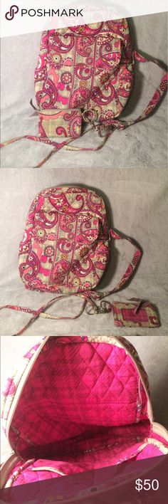 Paisley in Plaid Backpack & Wallet w/ Lanyard Used backpack and wallet... slightly dirty, but nothing a washing wouldn't fix. Great condition for both and reasonable price. Comment to buy them separately Vera Bradley Bags Backpacks