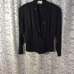 Evening jacket A black evening jacket with sequins lapels and they gathered rib and pepBlum with four covered buttons by Sherry Martin the sequins do not show up in the picture Jackets & Coats