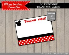 INSTANT DOWNLOAD Mickey Mouse Inspired 5x7 Thank You Cards by DivinePartyDesign, $2.00. Printable DIY.