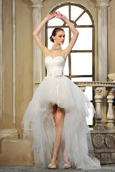 Simple Style Sweetheart High-Low White Wedding Dresses Bust Beads Pleat Tulle Hi-Lo Bridal Dress/Gowns, $123.92 | DHgate.com
