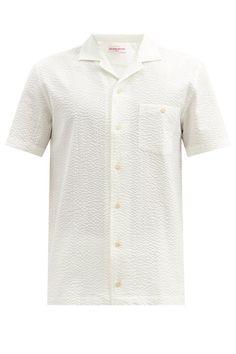 ORLEBAR BROWN Hibbert short-sleeved cotton-seersucker shirt £245 White Shirt Men, White Shirts, Seersucker Shirt, Men Casual, Cuban, Stylish, Brown, Mens Tops, How To Wear