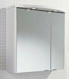 Ambiente High Gloss White Mirror Cabinet Bathroom Split Mirrored Doors Curved Top Canopy Two Halogen Down Lights Internal Shaver