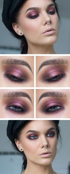 Purple pink smoky eyeshadow