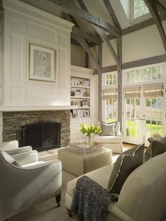 Gray washed cathedral beams, fireplace millwork | Caroline Willis