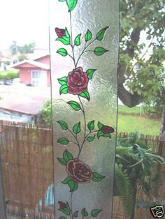 Faux Stained Glass 2 Toned Rose Sidelight Window Cling | eBay