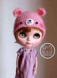 Pink mohair bear hat for Blythe or Pullip for other colors or sizes contact me