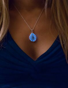 Royal Blue Glowing Necklace - The Sun in your Life - Glow in the Dark Jewelry - Glowing Drop Pendant - Gifts for Her - Glow Necklace