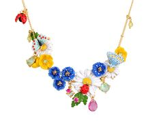 Les Nereides Champetre Garden Flowers and Insects Necklace Princess Kitty, Sunflower Garden, Enamel Jewelry, Jewellery, Candyland, Spring Flowers, Gift Guide, Holiday Gifts, Crochet Necklace