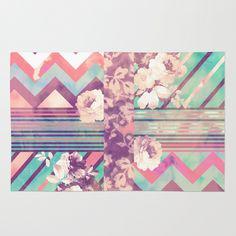 Retro Pink Turquoise Floral Stripe Chevron Pattern Area & Throw Rug