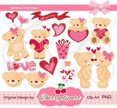 Valentine Teddy Bears Digital Clipart Set for-Personal and Commercial Use-paper crafts,card making,scrapbooking,and web design. $4.50, via Etsy.