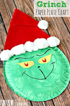 Grinch Paper Plate Craft is an easy and fun craft activity for Christmas. - abccreativelearning.com