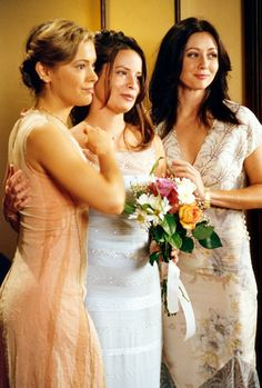 "Alyssa Milano as Phoebe, Holly Marie Combs as Piper, Shannen Doherty as Prue in ""Charmed"" (TV Series)"