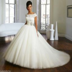 Cap Sleeve A-Line White/Ivory Wedding dresses tulle lace Bridal gown Size 2-16