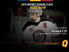 Welcome to Queen's  Alex Row! Row is the captain with Kemptville in the CCFL and will join the Gaels in 2017-18. Visit www.gogaelsgo.com for full details! #GoGaelsGo