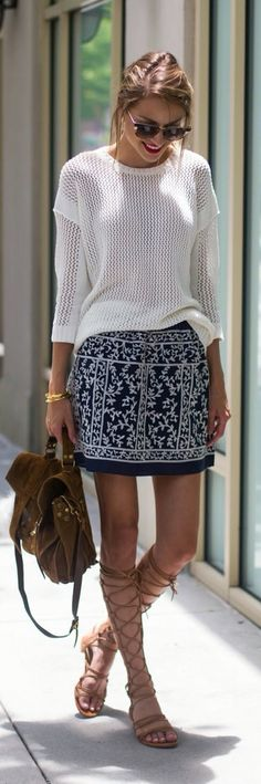 Gladiator sandals + mini skirt.