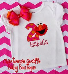 Personalized Elmo Birthday Shirt 12 month5T by ChartreuseGiraffe, $17.00