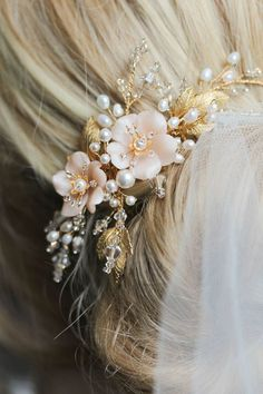 BESPOKE for Marcella   Pearl bridal hair comb with blush flowers 5