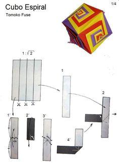 O QUE É MEU É NOSSO: Origami - Cubo com Faces em Espiral (Spiral Faced Cube) - Tomoko Fuse