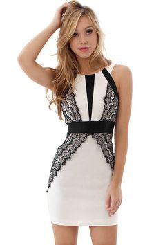 Teeze Me Day Dress - White and black day to night dress features contrast panels at bodice, banded waist and romantic lace details.
