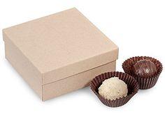 Rigid Truffle Candy Boxes - 4 Pc Truffle Boxes Kraft Embossed 3 - 1/2x3 - 1/2x1 - 1/2' - 2 Pc Box - (2 Packs