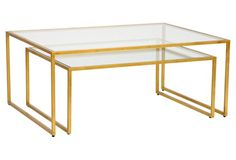 S/2 Iron Nesting Tables, Gold leaf 48W x 36D x 20.3 high small one 40W x 32D x 16.5H Chelsea House $1439 on One Kings Lane