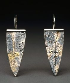 Textured sterling silver with fused 14K gold dangle earrings from Hammered by Wendy.