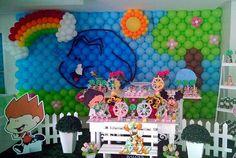 """Festa linda para comemorar os 3 aninhos da Manuela. Mural de balões no tema """"O meu amigãozão"""" #festameuamigaozao #festademeninas #festademenina #temqueterbaloes #amobaloes #inspirandosuafesta  #encontrandoidéias #piradaemfesta #festainfantil"""