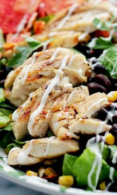 Tex-Mex Margarita Chicken Salad Recipe ~ Inspired by a restaurant-favorite, this tender and tangy chicken is marinated in flavors of margarita mix and lime, served atop a beautiful and colorful tex-mex salad. Margarita Chicken, Margarita Mix, Turkey Recipes, Mexican Food Recipes, Vinaigrette, Salad Wraps, Cooking Recipes, Healthy Recipes, Chicken Salad Recipes