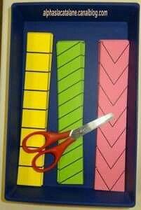 Estación de trabajo: recorte con tijeras líneas rectas