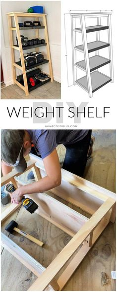 A DIY tutorial to build a weight storage shelf for dumbbells and freeweights. Make this tiered shelf for any storage needs with my plans. #diy #weightrack #displayshelf #diyfurniture Display Shelves, Storage Shelves, Shelf, Diy Home Decor Projects, Cool Diy Projects, Plywood Shelves, Woodworking Projects Diy, Wood Screws, Diy Tutorial