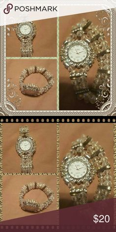 Crystal Stretch Watch Brand New! Needs a new battery installed. Will add a battery to purchase. Stretch band. Crystal beads. Accessories Watches