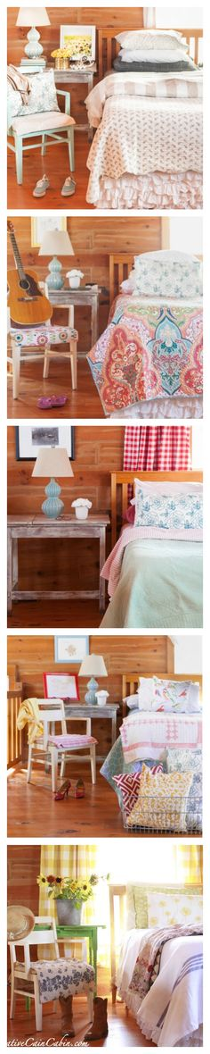 One Log Home Bedroom with 5 Different Looks