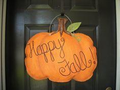 Burlap Pumpkin Door Hanger Fall/ by AsheliCoutureConcept on Etsy, $35 ...