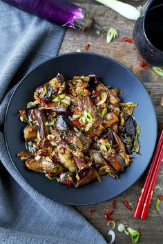 Chinese Eggplant with Garlic Sauce – Pickled Plum Food And Drinks - Vegan Asian Vegan Eggplant Recipes, Vegetarian Recipes, Healthy Recipes, Chinese Eggplant Recipes, Easy Recipes, Recipe For Asian Eggplant, Plum Recipes, Eggplant With Garlic Sauce, Chinese Coleslaw