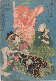 TOYOKUNI III. RARE TRIPTYCH or series, c. 1850's. three panels, each approx. 36 x 25 cm. | eBay!