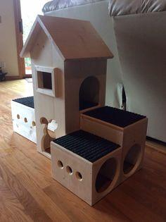 Custom bunny farmhouse for Judy by BunnyRabbitToys on Etsy Bunny Cages, Rabbit Cages, Rabbit Toys, Pet Rabbit, Rabbit Life, House Rabbit, Diy Bunny Toys, Rabbit Habitat, Bunny Room