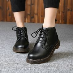 Winter Spring Women Fashion Ankle Boots Campus Style High Top Lace-up Shoes  2016 Leather. Dr Martin BootsBootie ... 6f44d4892