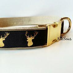 Gold dog collar Fancy dog collar hunting dog collar by NicSews