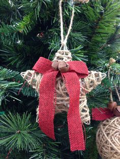 DIY jute, burlap, & jingle bell star rustic Christmas ornament idea photo.
