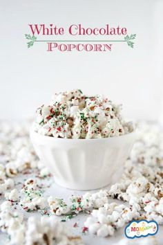 awesomeness!!  Just use mircrowave popcorn.  Melt white chocolate chips and mix in popcorn until coated well then add red and green sprinkles.  Let sit until hardened. Best Christmas treat ever!!