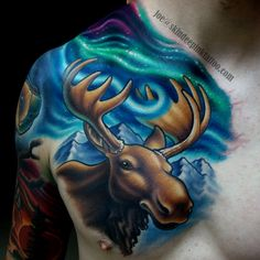 Whether you're looking for a new artist or just some inspiration, check out this portfolio of bold color tattoos by Joe Swider (Cracker Joes Tattoo/Skin Deep Ink) Tattoo Portfolio, Artist Portfolio, Couple Tattoos, Tattoos For Guys, Moose Tattoo, Grandma's Boy, Universe Tattoo, Tattoo Skin, Animal Tattoos