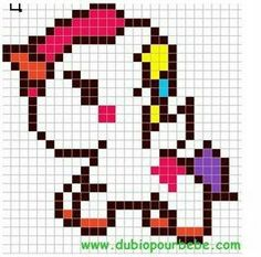 """Képtalálat a következőre: """"pyssla unicorns"""" Hama Beads Patterns, Beading Patterns, Embroidery Patterns, Cross Stitch Designs, Cross Stitch Patterns, Cross Stitching, Cross Stitch Embroidery, Pixel Art Minecraft, Modele Pixel Art"""
