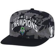 Men's Seattle Sounders FC adidas Black 2016 MLS Cup Champions Flat Brim Snapback Adjustable Hat - MLSStore.com